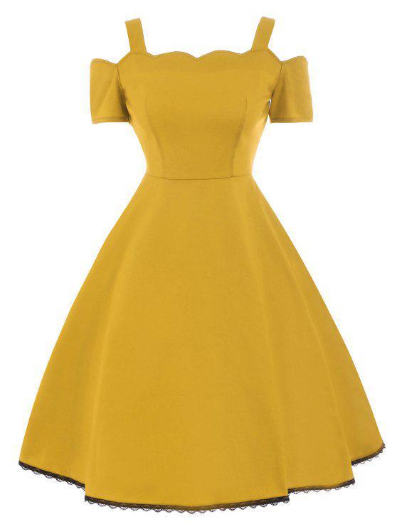 c579bacfe34 Lace Trim High Waist Vintage Dress