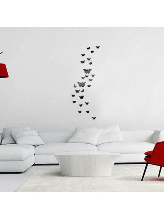 25 قطع الفراشات الزخرفية للإزالة مرآة ملصقات الحائط - أسود