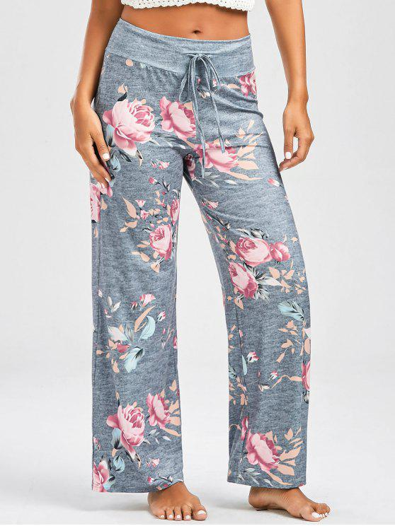 lady Casual Floral Print Drawstring Pants - LIGHT GRAY S