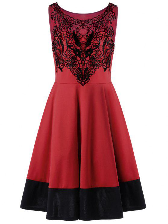 الكروشيه إدراج زائد حجم كوكتيل فستان حفلة موسيقية - أحمر 3XL