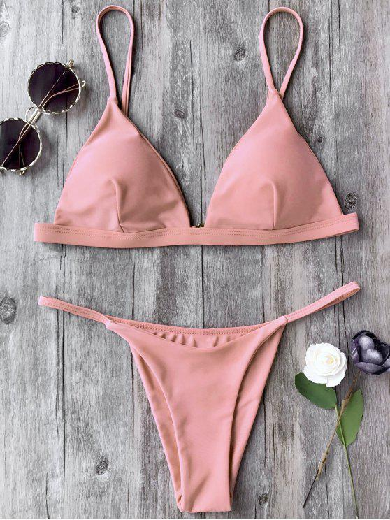 outfits Spaghetti Straps Plunge Thong Bikini Set - PINK L