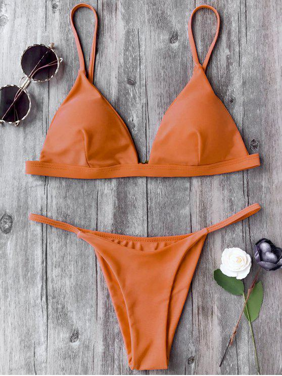 trendy Spaghetti Straps Plunge Thong Bikini Set - ORANGE M