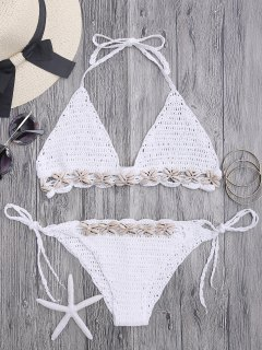 Seashell Trim Crochet String Bikini Set - White