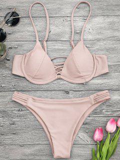 Ensemble De Bikini En Treillis Paddé Avec Armature - Rose PÂle S