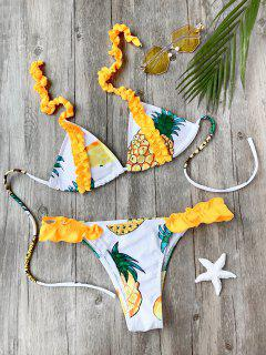 Frilled Pineapple Print Bikini Set - White M
