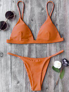Spaghetti Straps Plunge Thong Bikini Set - Orange M