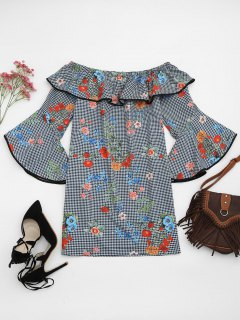 Robe Mini Imprimée De Motif Floral à Carreaux à épaules Tombantes  - Floral S