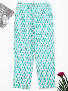 Side Pockets Sea Horse Print Loungewear Pants - White S