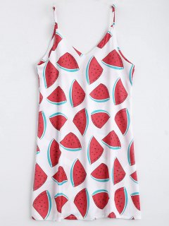 Watermelon Print Cami Shift Dress - Red With White M