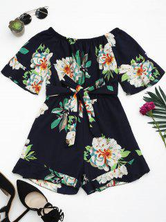 Off The Shoulder Floral Print Ruffled Romper - Purplish Blue
