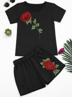 Floral Patched Tee And Shorts Set - Black M