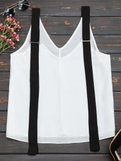Two Tone Chiffon Tank Top With Straps - White And Black S