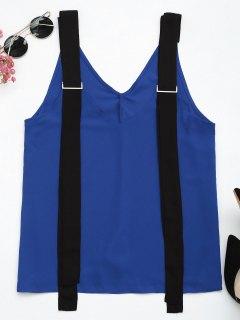 Débardeur Bicolore En Mousseline De Soie Avec Sangles - Bleu Et Noir M