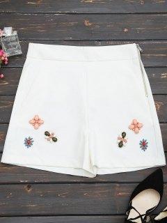 Pantalones Cortos Rebordeados Con Cintura Alta - Blanco S