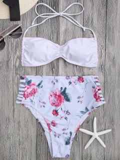 Floral Ladder Cut Ruched High Cut Bikini - White M