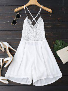 Lace Panel Open Back Cami Romper - White M
