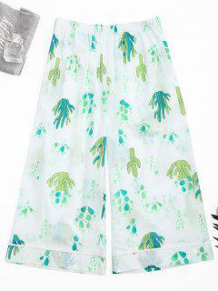 Wide Leg Cactus Print Capri Loungewear Pants - White M