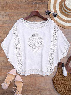 Batwing Crochet Panel Cover Up - Blanc