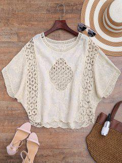 Batwing Crochet Panel Cover Up - Beige
