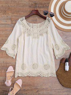Loose Fitting Crochet Panel Cover Up - Off-white