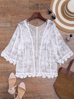 Sheer Open Front Crochet Cover Up - White