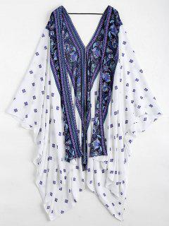 Batwing Paisley Patterned Kimono Cover Up - Blanc