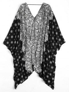 Batwing Sleeve Patterned Kimono Cover Up - Black