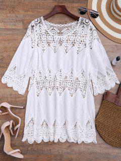 Hollow Out Crochet Panel Cover Up Dress - White