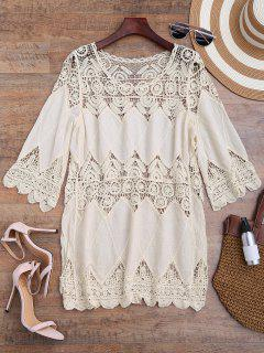 Hollow Out Crochet Panel Cover Up Dress - Off-white