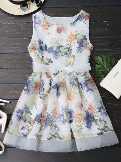 Sleeveless Floral Print Belted Dress - Floral L