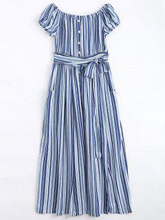 Schulterfreies Maxi Kleid Mit Streifen Und Knöpfen - Streifen  S