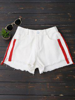 Striped Frayed Hem Denim Shorts - White L