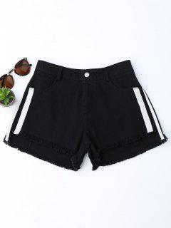 Striped Frayed Hem Denim Shorts - Black S