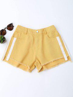 Striped Frayed Hem Denim Shorts - Ginger M