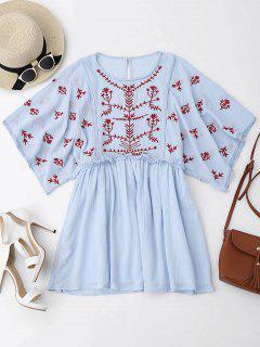 Kimono Sleeve Embroidered Ruffles Mini Dress - Light Blue M