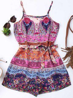 Floral Print Belted Cami Romper - Floral Xl