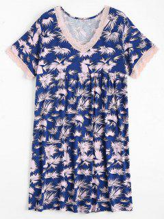 Lace Panel V Neck Printed Loungewear Dress - Blue Xl