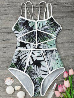 Piping Tropical Print One Piece Swimsuit - White And Green M