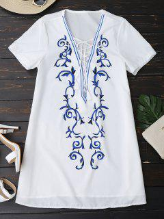 Printed Lace Up Plunging Neck Dress - White Xl