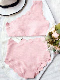 Bikini Festonné Une épaule Taille Haute - Rose PÂle L