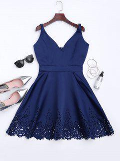 Hollow Out Strappy Flare Dress - Cadetblue M
