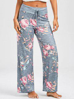 Casual Floral Print Drawstring Pants - Light Gray 2xl