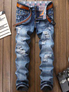 Zipper Fly Bleach Wash Faded Ripped Jeans - Blue 38