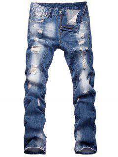Zipper Fly Faded Straight Leg Distressed Jeans - Blue 38