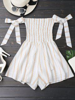 Self Tie Strapless Striped Romper - White S