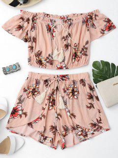 Floral Off Shoulder Ruffles Top And Tulip Shorts - Shallow Pink L