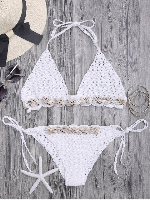 outfits Seashell Trim Crochet String Bikini Set - WHITE ONE SIZE(FIT SIZE XS TO M) Mobile