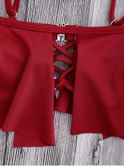Top et Basse Bikini à l'épaule - Rouge M Mobile