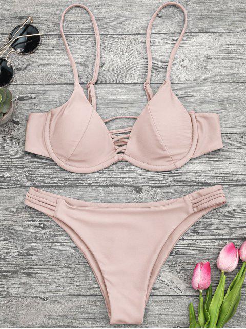 best Lattice Padded Underwire Bikini Set - PINK L Mobile