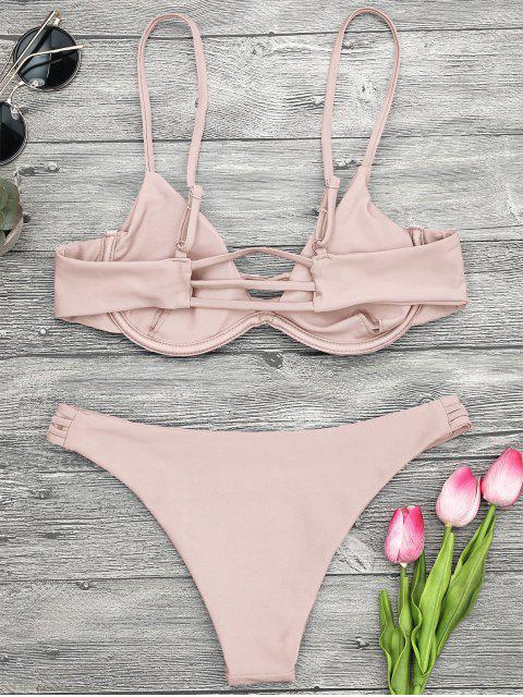 new Lattice Padded Underwire Bikini Set - PINK S Mobile